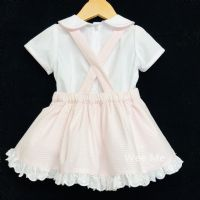 New Arrival Gorgeous Baby Girl Spanish Pink Pinafore Dress Shirt Suit